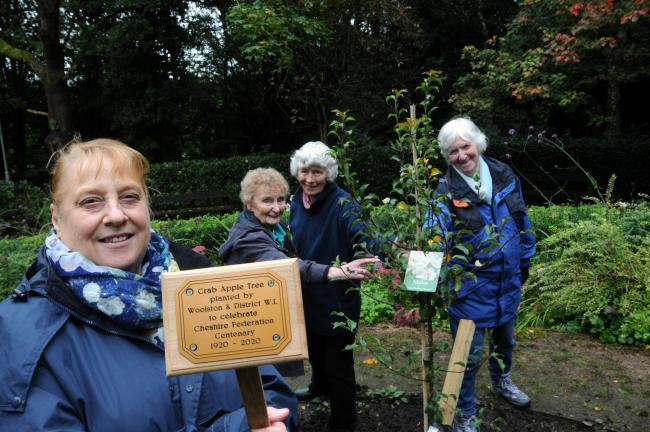 Woolston and District WI members and representatives of the Friends of Woolston Park at the planting of the tree.
