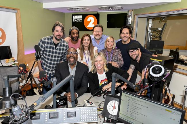 Paul Rudd, Elbow and Sir Lenny Henry on the Zoe Ball breakfast show on BBC Radio 2 on Friday 11th October 2019. Credit: BBC