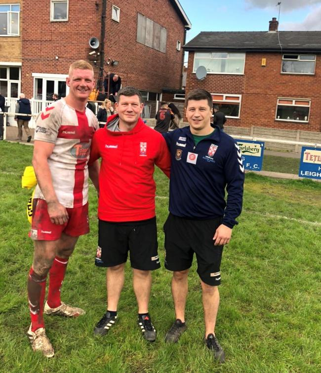 From left, Latchford Albion's Danny Brown, Martyn Ellis and Phil Woollacott after the NWML Lionhearts beat Germany
