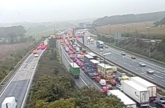 Long delays on M6 after crash on Thelwall Viaduct
