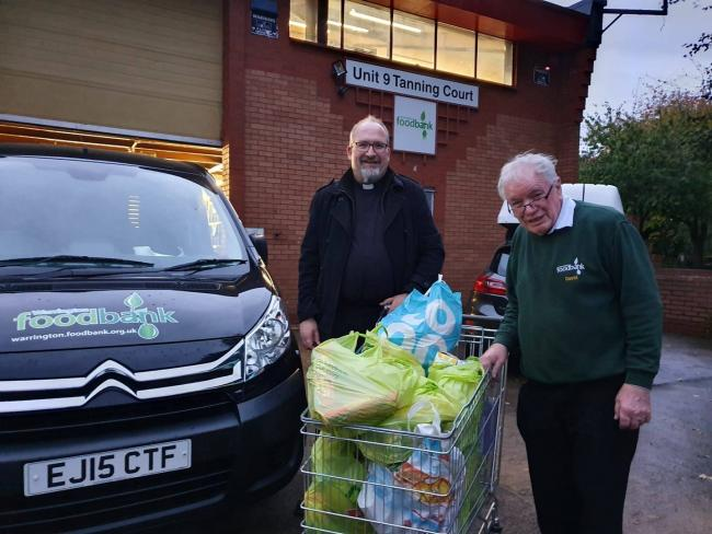 Taking the items to the foodbank