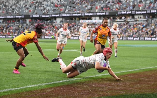 Emily Rudge was a tryscorer as England beat PNG in the World Cup Nines last month. Picture by NRLImagery.com