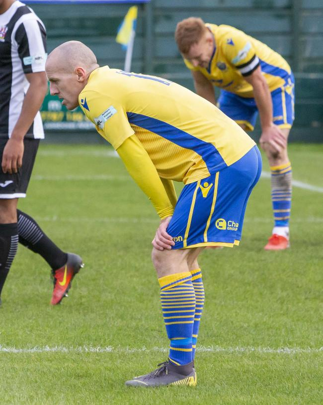 Tony Gray and Mark Roberts cut dejected figures against Stalybridge. Picture by John Hopkins