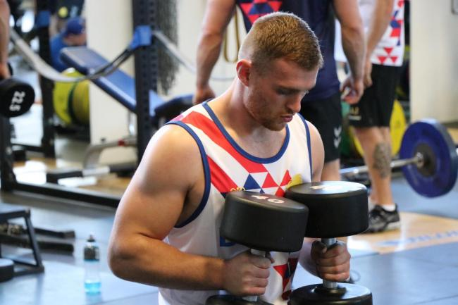 Warrington Wolves' Jack Hughes in Great Britain training