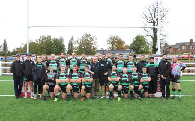 Lymm Rugby Club's first team following their first game on Beechwood's new artificial pitch on Saturday