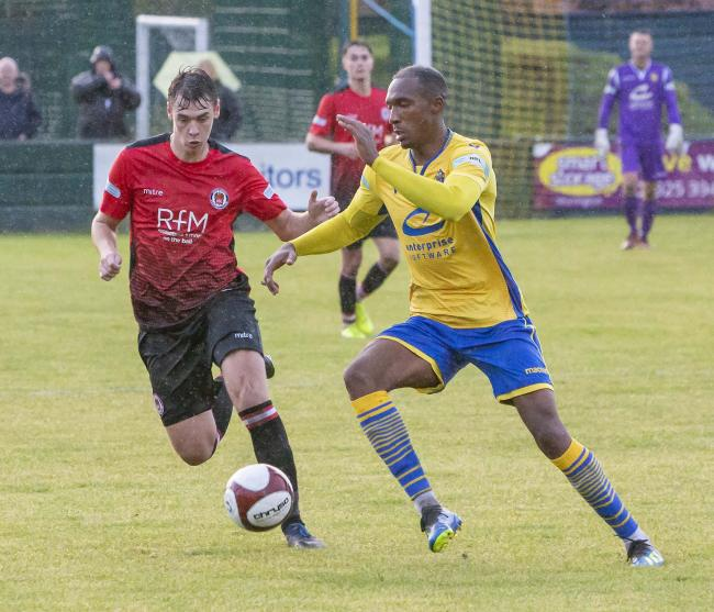 Bohan Dixon carries through midfield against Hyde United. Picture by John Hopkins