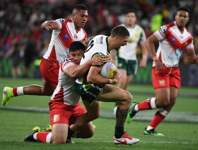Anthony Gelling in action for the Cook Islands during last month's World Cup Nines tournament. Picture by NRLimagery.com