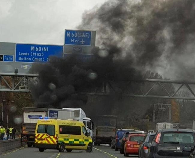 The M62 has been closed in both directions after a fire this afternoon. Picture by Riza Bashir.