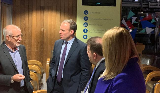 Foreign secretary Dominic Raab during his visit to the Peace Centre