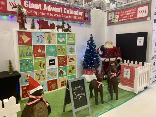 The giant advent calendar at Warrington Market