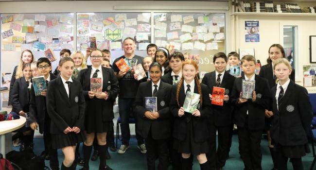 Curtis Jobling with year 7 pupils at Great Sankey High School