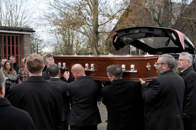 Terry O'Neill's funeral took place in Burtonwood this afternoon