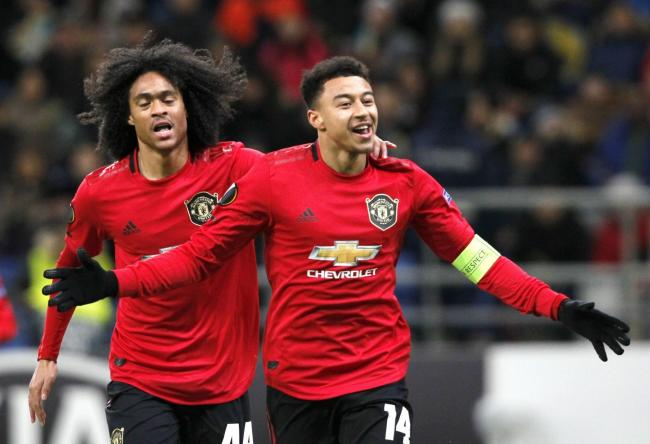 Jesse Lingard celebrates scoring against Astana