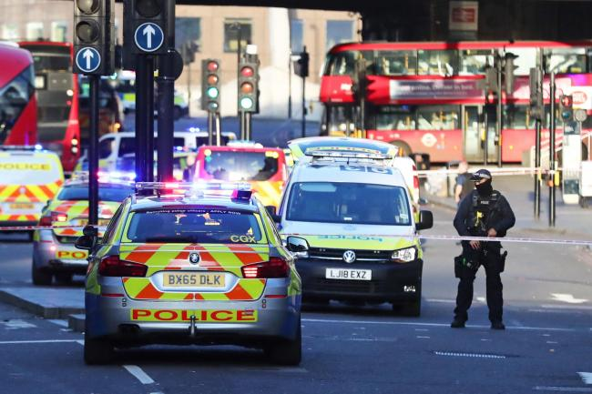 Man held by police following London Bridge stabbing. Pic credit: Gareth Fuller/PA Wire