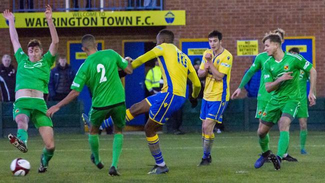 Bohan Dixon, here scoring the third goal, came in for high praise for his display against Nantwich. Picture by John Hopkins