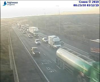 Queues on the Thelwall Viaduct this morning