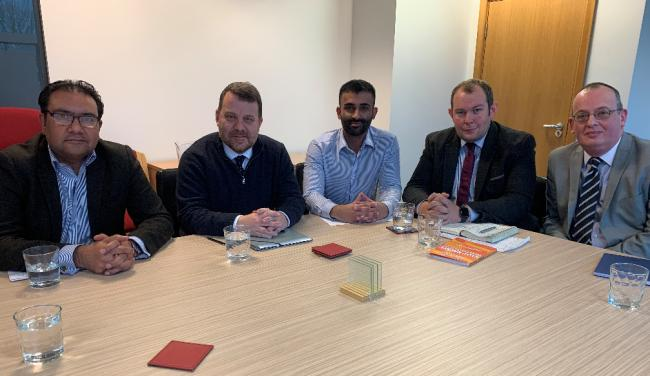 From left, Faisal Rashid, Andy Carter, Aran Dhillon, Cllr Ryan Bate and Kevin Hickson