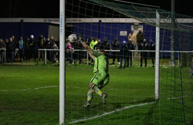 Rylanda goalkeeper Graeme McCall saves an 1874 Northwich penalty, but it proved in vain as Blues lost their Macron Cup tie in the shoot-out. Picture by Mark Percy