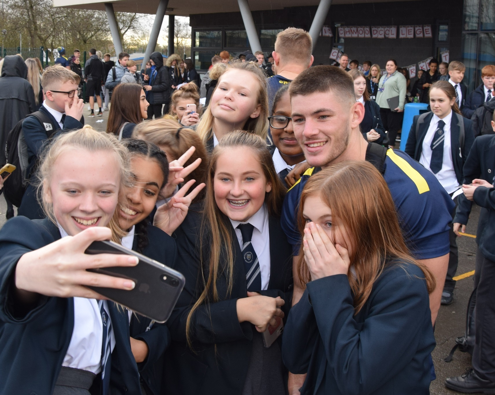 Wolves players surprise excited Birchwood students