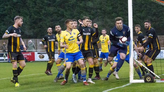Action from Yellows' 4-0 loss at Morpeth. Picture by John Hopkins