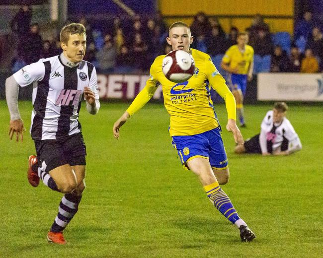 Will Harris scored twice in Yellows' Cheshire Senior Cup win at Sandbach United. Picture by John Hopkins