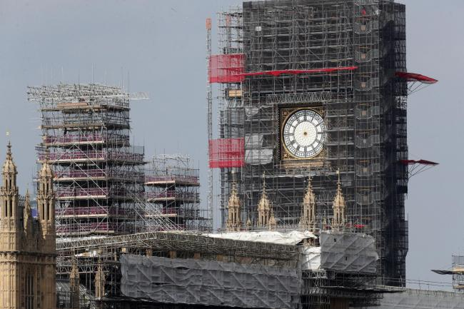 The clock hands of Elizabeth Tower at the Palace of Westminster have been removed for maintenance and restoration work