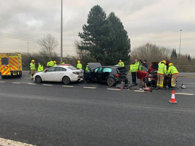 The Daresbury Expressway was closed after two crashes this morning
