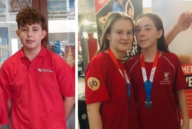 Warrington Water Polo Club players Jack Moss, Isabella Smithson and Lilly Ireland
