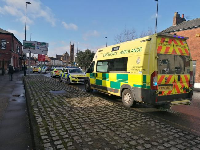 Police and paramedics on Church Street this afternoon, Tuesday