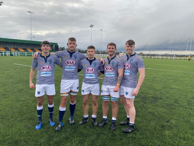 From left, Lymm's Cheshire under 20 contingent of Alfie Simpson, Sam Dickinson, Joe Heaton, Josh Hadland and James Sherlock