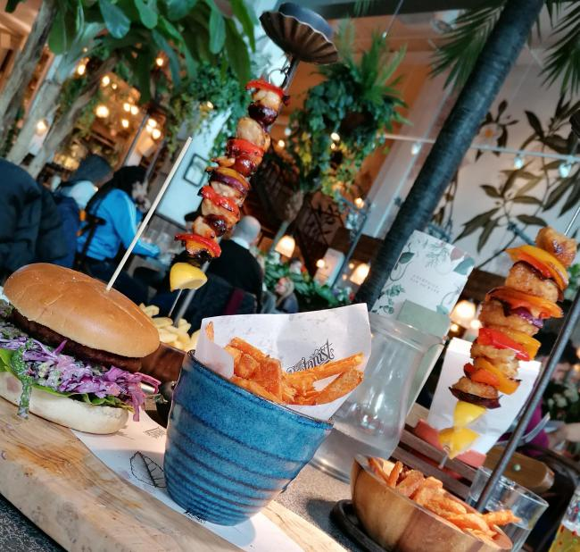The Botanist's 'famous' hanging kebabs and a Moving Mountains burger topped with pulled jackfruit