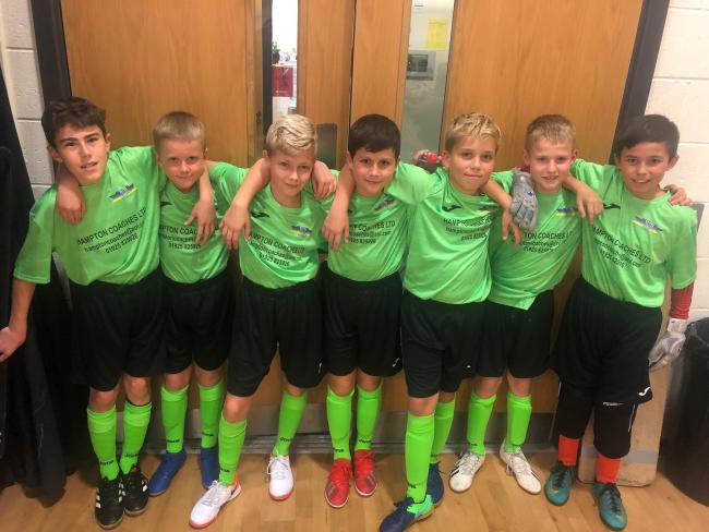 Woolston Rovers' under 12s, who have won every game of their Manchester Futsal League season