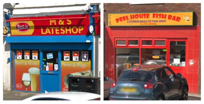 The M&S Lateshop and Peel House Fish Bar were targeted in armed robberies on the same night. Picture by Google Maps.