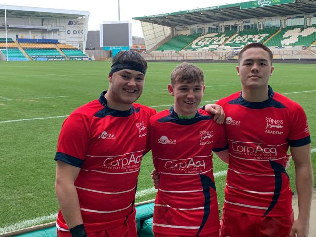 From left, Jack Higgins, Archie Kellett and Roma Zheng - three products of Warrington RUFC's successful junior system