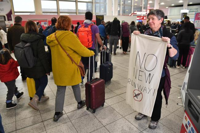 Extinction Rebellion protests at Gatwick