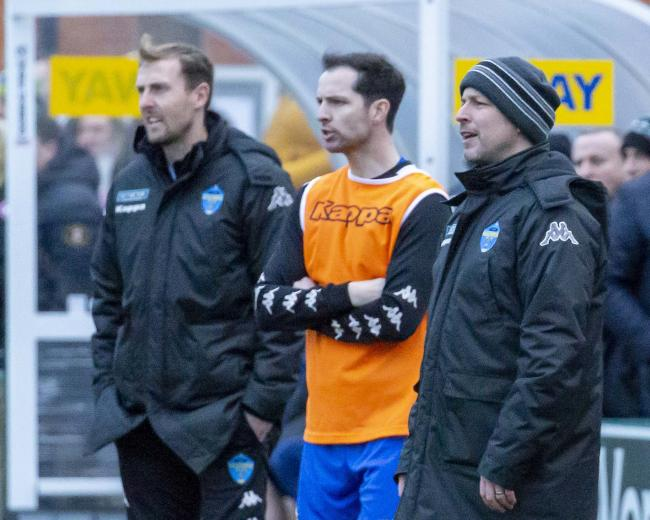 Warrington Town boss Paul Carden, right, with brother Adam, centre, and assistant boss Mark Beesley. Picture by John Hopkins