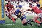 Allan Langer, scoring his first try for Warrington Wolves back in the year 2000. Picture by Mike Boden