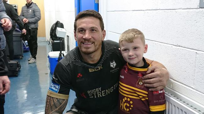 Sonny Bill Williams meets Sonny Bill Brown. Picture by Warrington Wolves