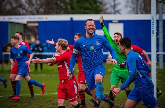 Gary Kenny celebrates scoring against Litherland REMYCA on Saturday.                                                         Picture: Mark Percy