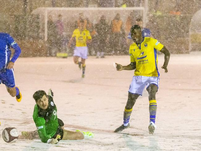Fisayo Adarabioyo scored at Buxton on Tuesday before snow forced the game to be abandoned. Picture by John Hopkins