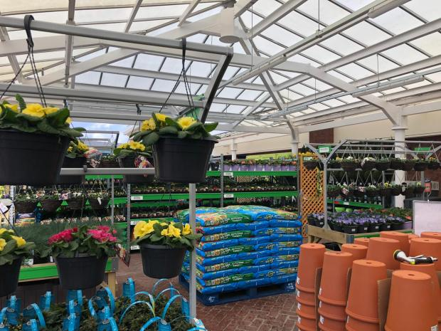 Warrington Guardian: The outdoor garden centre sells everything from bedding plants to sheds