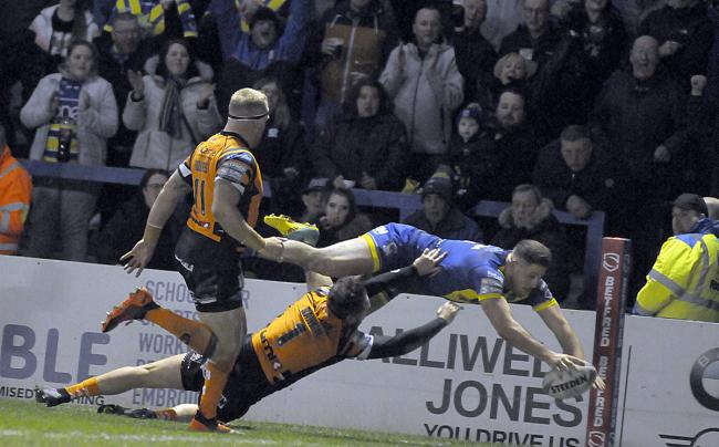 Warrington Wolves' Tom Lineham dives in for a try against Castleford Tigers in The Wire's last home game on March 6, 2020. Picture: Mike Boden