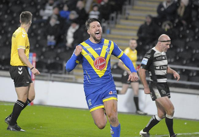 Gareth Widdop celebrates his Warrington Wolves try in the win at Hull FC on March 12. Picture: Mike Boden