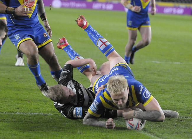 Blake Austin scores his second try at Hull FC. Picture by Mike Boden
