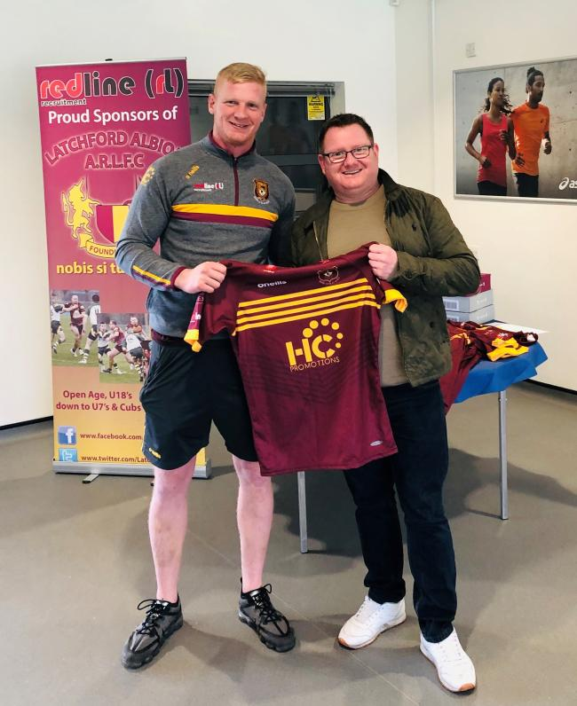 Latchford Albion skipper Danny Brown and Chris Hodkinson from club sponsors HC Promotions with the club's 75th anniversary playing kit