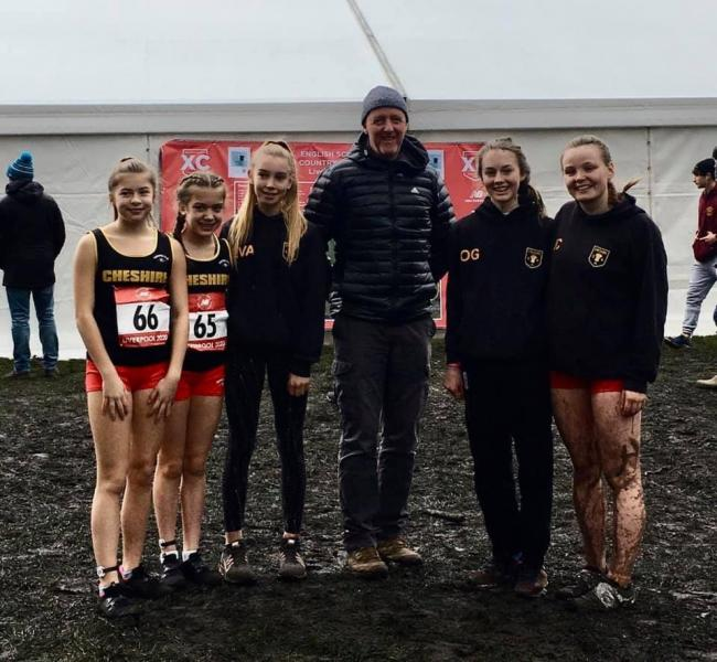 From left, Warrington Athletics Club's Lucie Davis, Alice Nicholson, Eva Ferris, coach Russ Tart, Orla Gregory and Jess Connolly