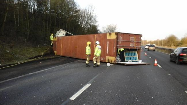 The overturned lorry on the M56 westbound