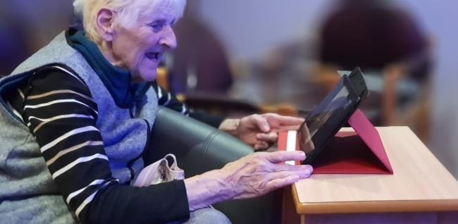 Care home residents are enjoying speaking to their family through social media