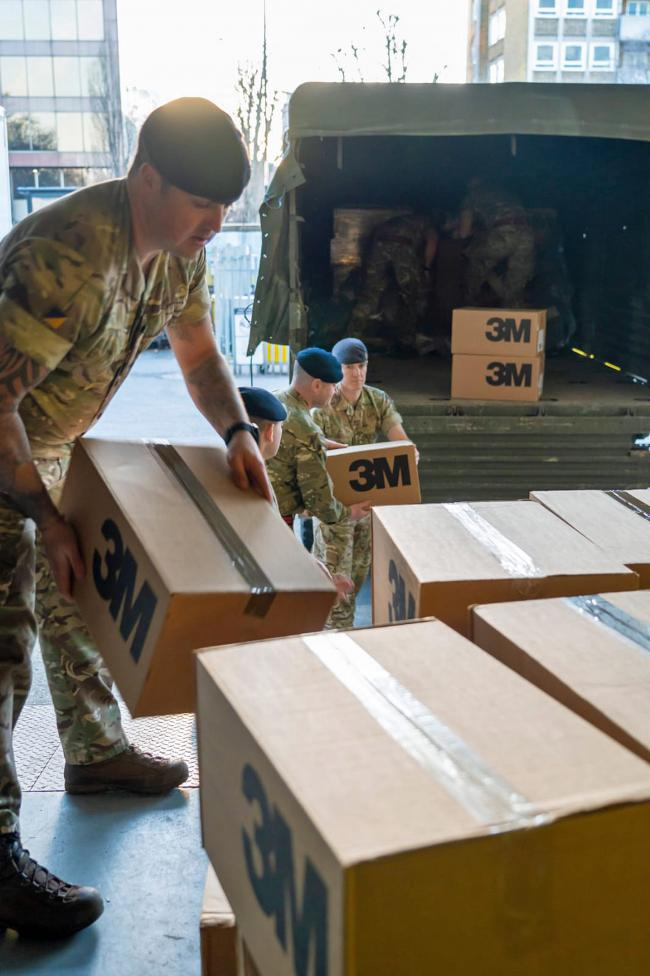 Soldiers have been delivering personal protective equipment in London