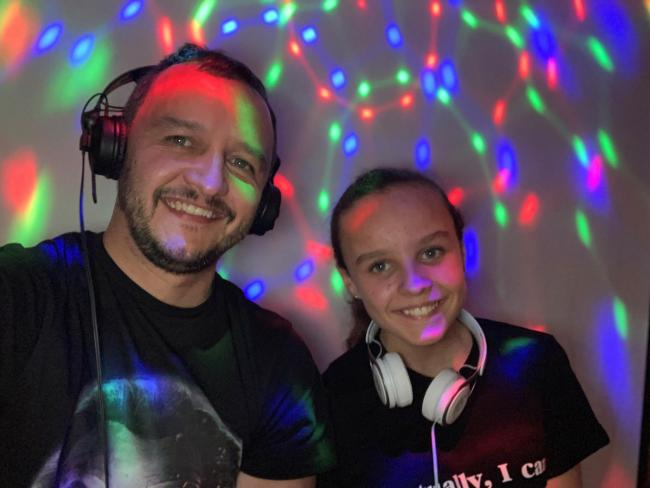 Greenwood House Mafia member Neil Scotland on the decks with his 11-year-old daughter